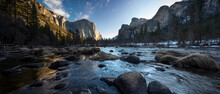 Yosemite National Park Valley View Of River And Mountains
