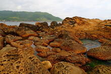 Natural Rock Formation At Waimushan, One Of Most Famous Wonders In Keelung, Taiwan.