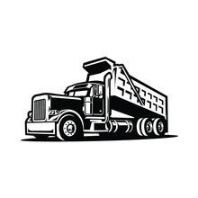 Dump Truck Silhouette Vector. Tipper Truck Vector Isolated