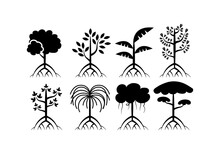 Set Of Different Mangrove Trees Icons Vector
