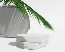 White Stone Podium, Cosmetic Display Product Stand With Tropical Palm Leaves Background. 3D Rendering