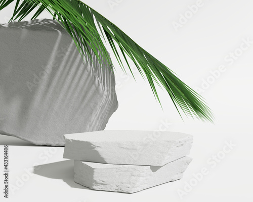 White stone podium, Cosmetic display product stand with tropical palm leaves background. 3D rendering Wall mural