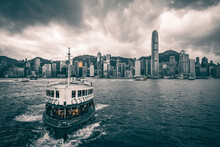 Star Ferry Leaving  Tsim Sha Tsui Pier To Go To The Central Pier In Hong Kong