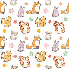Seamless Pattern With Cartoon Fox, Rabbit, Koala, Squirrel, Tiger And Star Illustration Design On White Background