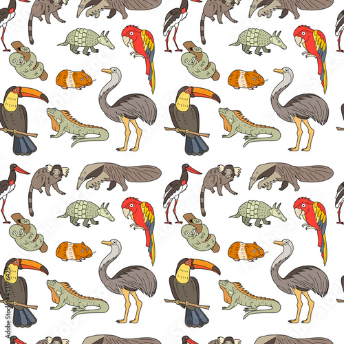 Naklejka premium Endless texture with cute funny animals living in South America. Seamless pattern with toucan, parrot and monkey for kid design