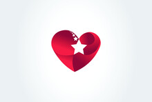 Love Stars Logo Icon. Heart And Shooting Stars Shape In Logo Concept