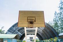 Old Wooden Basketball Hoop In School.