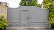 Portal Old Wooden Vintage Gray Ancient House Gate Access Car In Grey Wood High Door