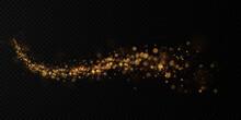 Golden Light Holiday Comet. Magical Shiny Light Line. Festive Decoration Element.