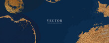 Minimal Background In Navy Blue Water Color And Golden Texture