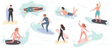 Collection Of Cute Surfing People In Swimwear Surfing. Surfers With Surfing Board On Summer Beach And Sea Wave. Vector Illustration Summer Time Vacation