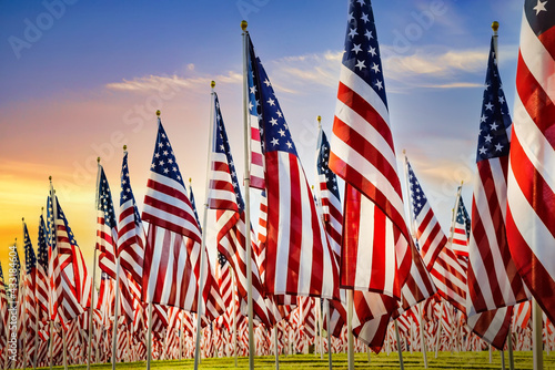 Foto American flags standing in the green field against beautiful morning sky