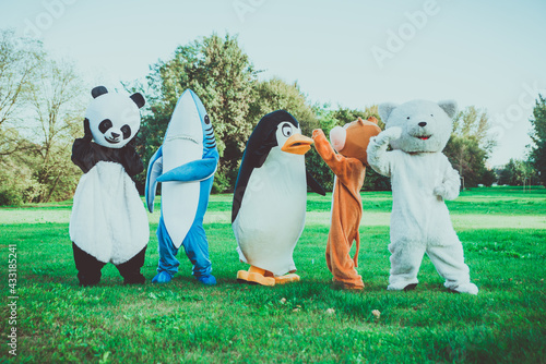 Group of animals mascots doing party - fototapety na wymiar