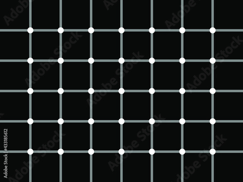 Carta da parati Optical illusion - black dots appears in black and white grid.