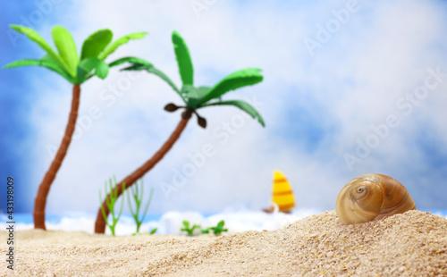 Fotografie, Obraz Seashell on Tropical Beach