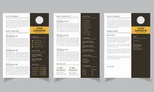 Professional Resume CV Template Layout. Curriculum Vitae Template And Cover Letter Set
