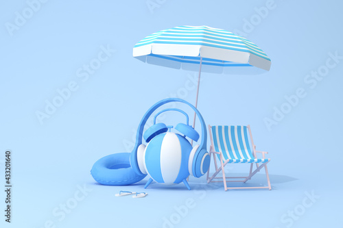 Fototapeta Conceptual scene of blue alarm clock with headphone on inflatable ball and beach chair, 3d rendering