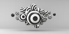 3d Render Illustration. Sphere Stripes On A Gray Background.