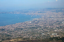 Gulf Of The Great City Of Naples In Southern Italy With A Cruise Ship And Many Houses Near The Sea Seen From The Volcano Vesuvius