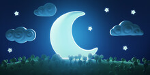 Stylized Funny Cartoon Night Summer Landscape With Trees, Moon, Star And Clouds. Bright Design Composition Panorama. Children Clay, Plastic Or Soft Toy. Colorful 3d Illustration.