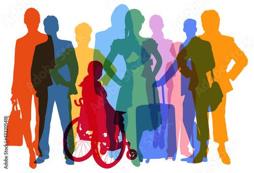 Fototapeta Silhouetten verschiedener Menschen als Bevölkerung und Kunden obraz