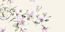 Beautiful Elegant Watercolor Magnolia Flower