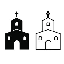 Church Icon Vector Set. Religion Illustration Sign Collection. Faith Symbol Or Logo.