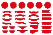 Set Of Red Label And Sticker Icons. Red Ribbon Illustration For Web, E-commerce, Store, Advertising And Graphic Design. Vector Illustration.