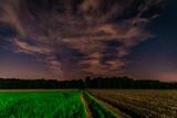 Fototapeta Krajobraz - nocne niebo nad drogą prowadzącą do lasu
