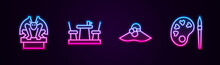 Set Line Gargoyle On Pedestal, French Cafe, Elegant Women Hat And Paint Brush With Palette. Glowing Neon Icon. Vector