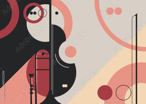 Billede på lærred Banner template with trumpet and violin
