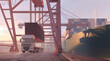 canvas print picture Crane unloading containers from a freight ship. Sea cargo port, industrial cranes, harbor cargo terminal. Import export business, shipment logistic, transportation, shipping industry 3D illustration