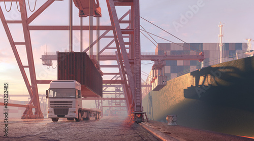 canvas print motiv - Corona Borealis : Crane unloading containers from a freight ship. Sea cargo port, industrial cranes, harbor cargo terminal. Import export business, shipment logistic, transportation, shipping industry 3D illustration