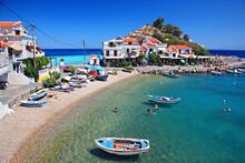 Kokkari Village, One Of The Most Popular Tourist Destinations In Samos Island, Greece.