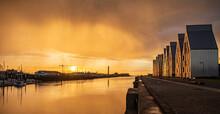 Pluie Tombante Sur Le Port De Dunkerque