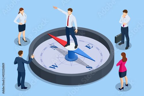 Fototapeta Isometric define marketing direction and search customer global network. Business people using compass for navigation and orientation in business. Business success concept obraz
