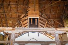 Wooden Old Roof Structures In An Abandoned Stables In The Natalyevka Estate, Kharkiv Region, Ukraine