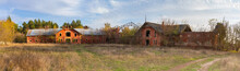 Panorama View Of The Buildings Of The Old Abandoned Stables In The Natalyevka Estate, Kharkiv Region, Ukraine