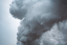Large Dramatic Cloud On A Cloudy Sky. Emission Of Factory, Air Pollution.