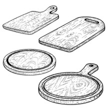 Hand Drawn Cutting Wooden Boards Set. Sketch Style Kitchen Utensils. Round And Rectangular, With Handle. Vector Illustrations Vintage Collection.