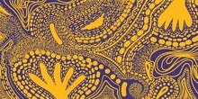 Web Banner Viola Giallo Memphis Pattern. Doodles. Illustrazione Grafica Creativa. Sfondo Moderno