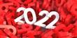 Leinwandbild Motiv 2022 white number against red digits stack background, 3d illustration