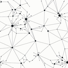 Beautiful Web Structure With Lines And Circles Like A Neural Network. Monochrome Vector Background. Minimal Grid Seamless Pattern.