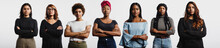 Panoramic Shot Of Confident Multiethnic Women