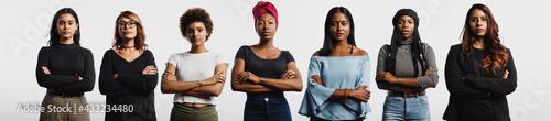 Fototapeta Panoramic shot of confident multiethnic women obraz