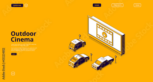 Outdoor cinema banner. Drive-in movie theater with cars on open air parking. Vector landing page of street auto cinema with isometric illustration of big screen and automobiles - fototapety na wymiar