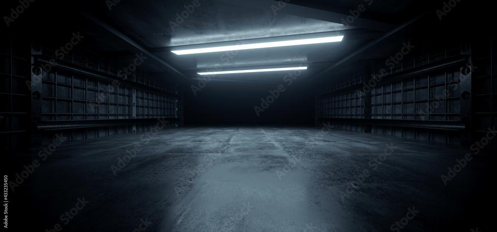 Fotografie, Obraz Dark Concrete Led White Lights Underground Tunnel Corridor Cement Asphalt Hallwa