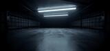 Fototapeta Perspektywa 3d - Dark Concrete Led White Lights Underground Tunnel Corridor Cement Asphalt Hallway Warehouse Tunnel Corridor Metal Structure Realistic Empty 3D Rendering