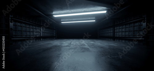 Dark Concrete Led White Lights Underground Tunnel Corridor Cement Asphalt Hallway Warehouse Tunnel Corridor Metal Structure Realistic Empty 3D Rendering - fototapety na wymiar