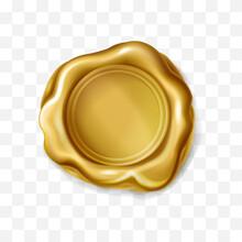 Realistic Golden Wax Stamp Isolated On Transparent Background. Gold Elite Seal For Letter Label, 3d Royal Postal Mark, Quality Guaranteed Badge. Award Medal Symbol, Vector Design Element.